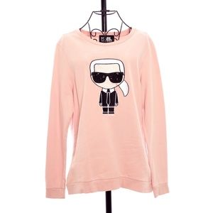 Karl Lagerfeld Pink Ikonik Karl Sweatshirt Size L